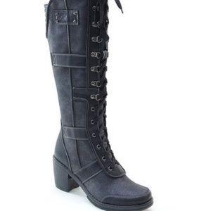 Italina knee high heeled black combat boots sz 6